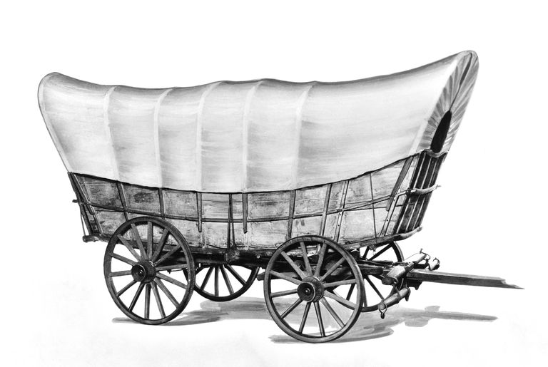 Illustration of a prairie schooner covered wagon