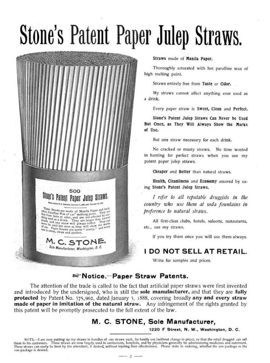 Stone's Patent Paper Julep Straws