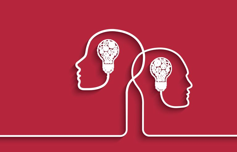 Human heads with light bulbs and gears on red background