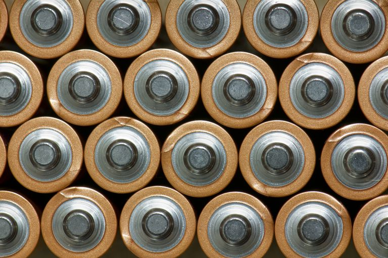 Full frame image of the tops of batteries