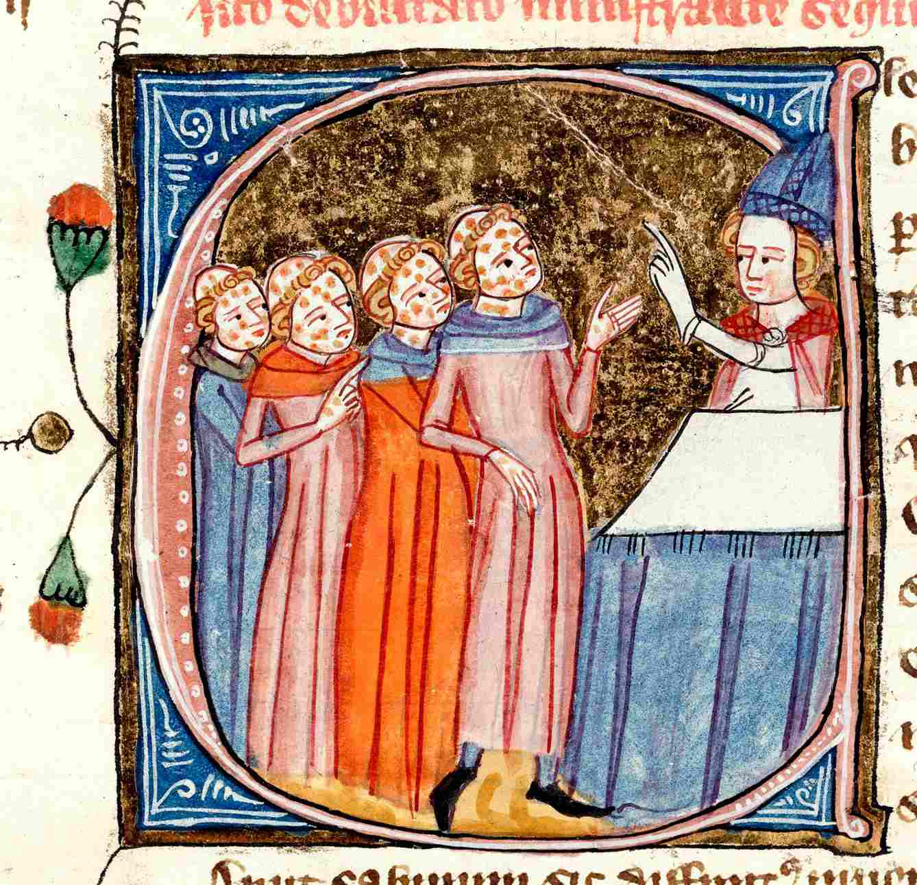 Plague Victims Blessed by a Priest (14th Century Illuminated Manuscript)