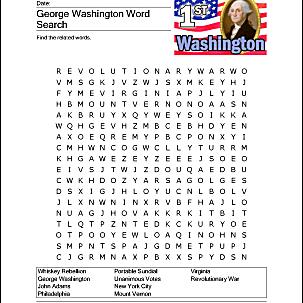 George Washington wordsearch