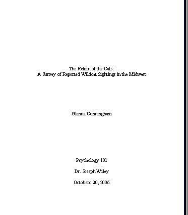 mla research paper format title page
