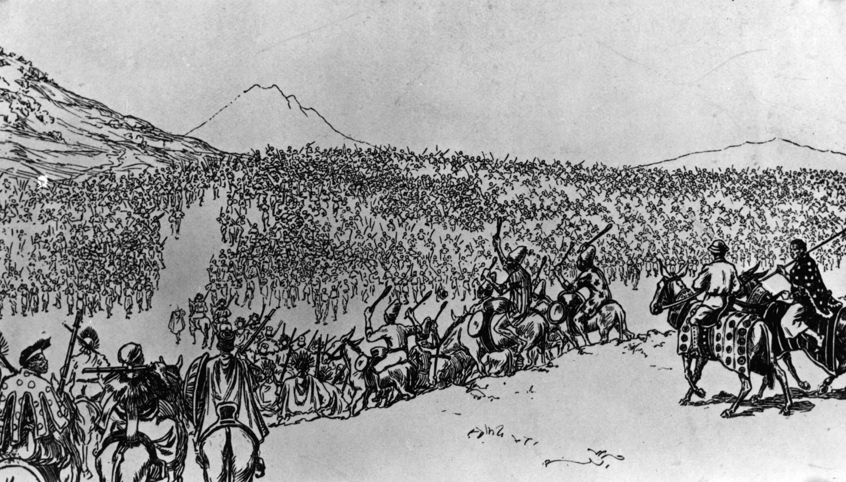 Ethiopian troops leaving Addis Ababa before defeating the Italian invaders at the Battle of Adwa, during the war of 1896.