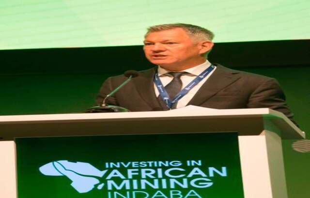 Mike Fraser, COO of South 32, speaks during the first day of the Mining Indaba in Cape Town