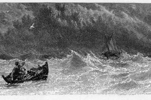 Artist rendering of a man in a small boat on a stormy sea looking out at a ship