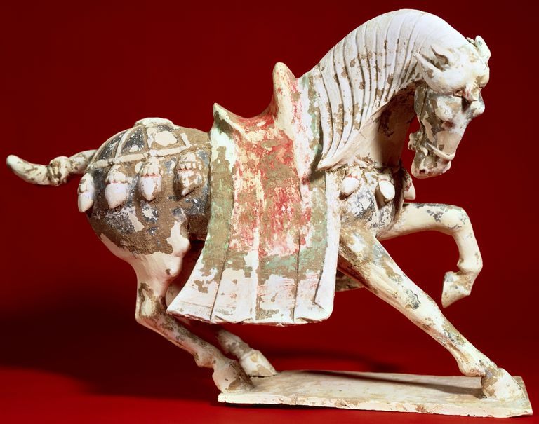 Horse in parade, terracotta statue, China, Chinese Civilisation, Tang Dynasty, 6th-9th century