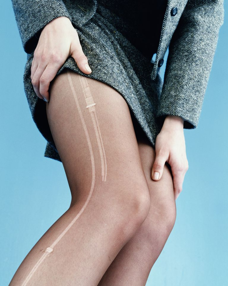 A woman wearing nylon stockings