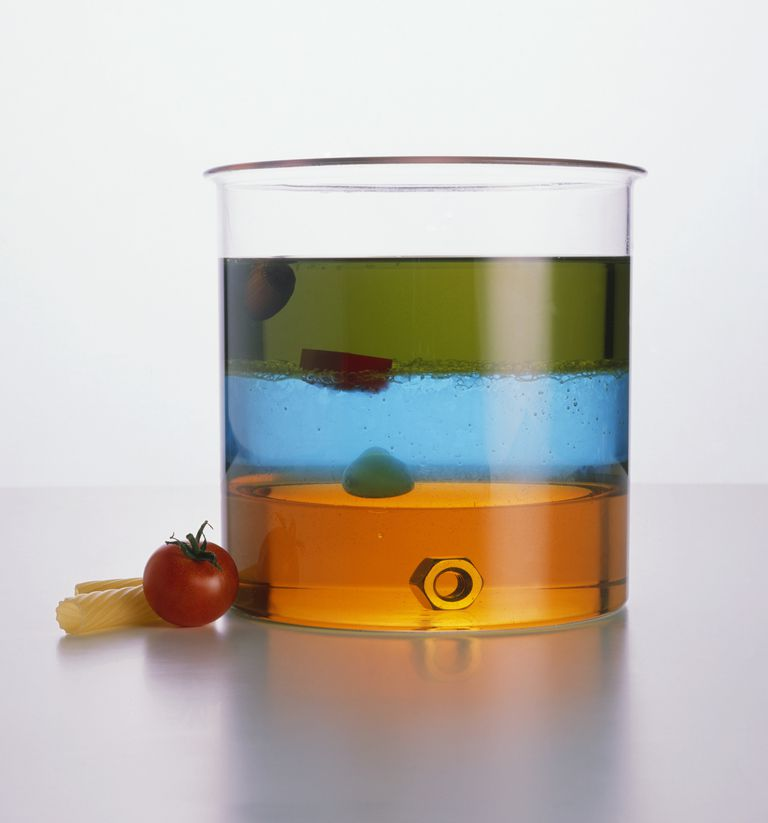 Take a look at the density of common objects. Oil floats on water; some solids float on liquids while other sink. Different density is why icebergs (fresh water) float on the ocean (salt water).