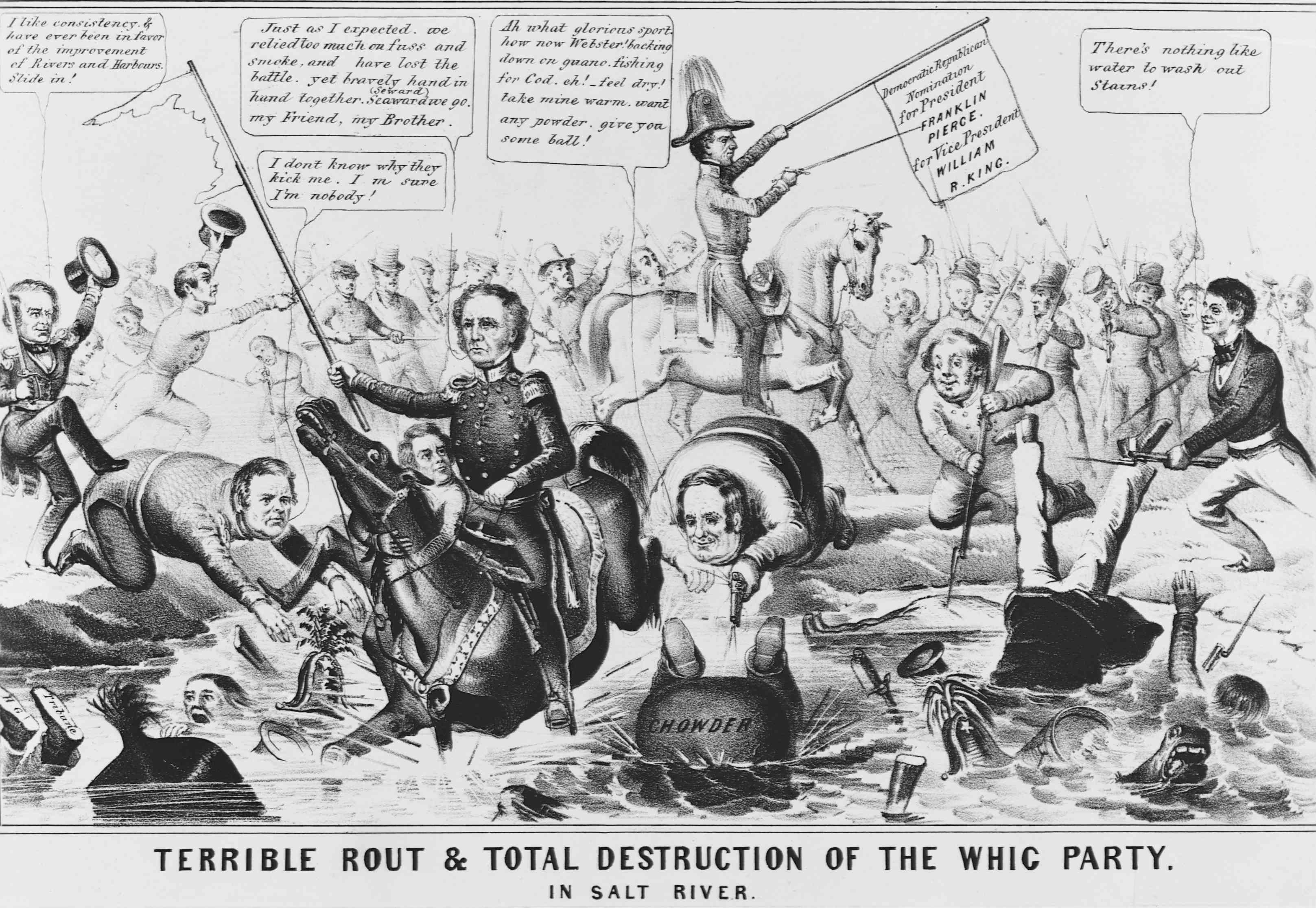 Political cartoon depicting the destruction of the Whig Party