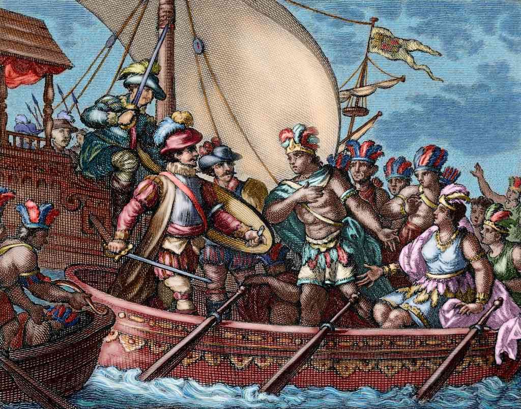 Conquest of Mexico. Capture of Cuauhtemoc. Colored engraving.