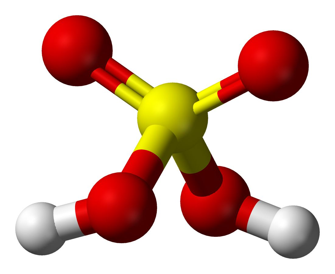 Ball-and-stick model of sulfuric acid.