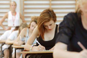 Female student taking test