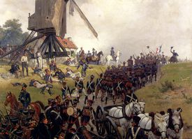 armies in battle in front of a windmill