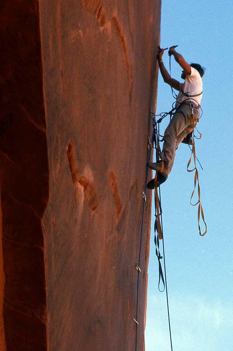 Eric Bjornstad aid climbing in the Valley of the Gods in Utah.