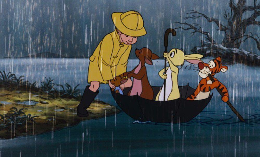 Pooh Christopher Robin rain flood