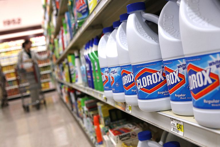 Bleach bottles on a store shelf
