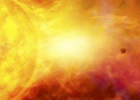 Sun engulfing the earth