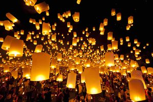 Chinese New Year lanterns being released