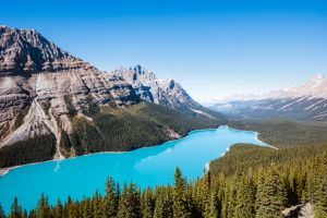 Elevated view over Banff National Park, Canada