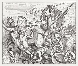 Achilles assailed Hector, Greek mythology, wood engraving, published in 1880