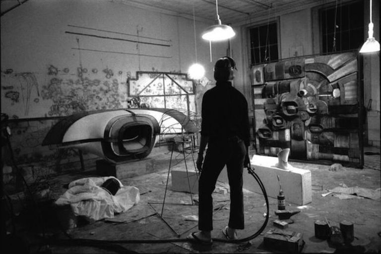 Lee Bontecou in her Wooster Street studio, New York, 1964.