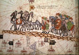 Close up of 13th Century Catalan Nautical Map Illustrating Marco Polo Crossing the Silk Road