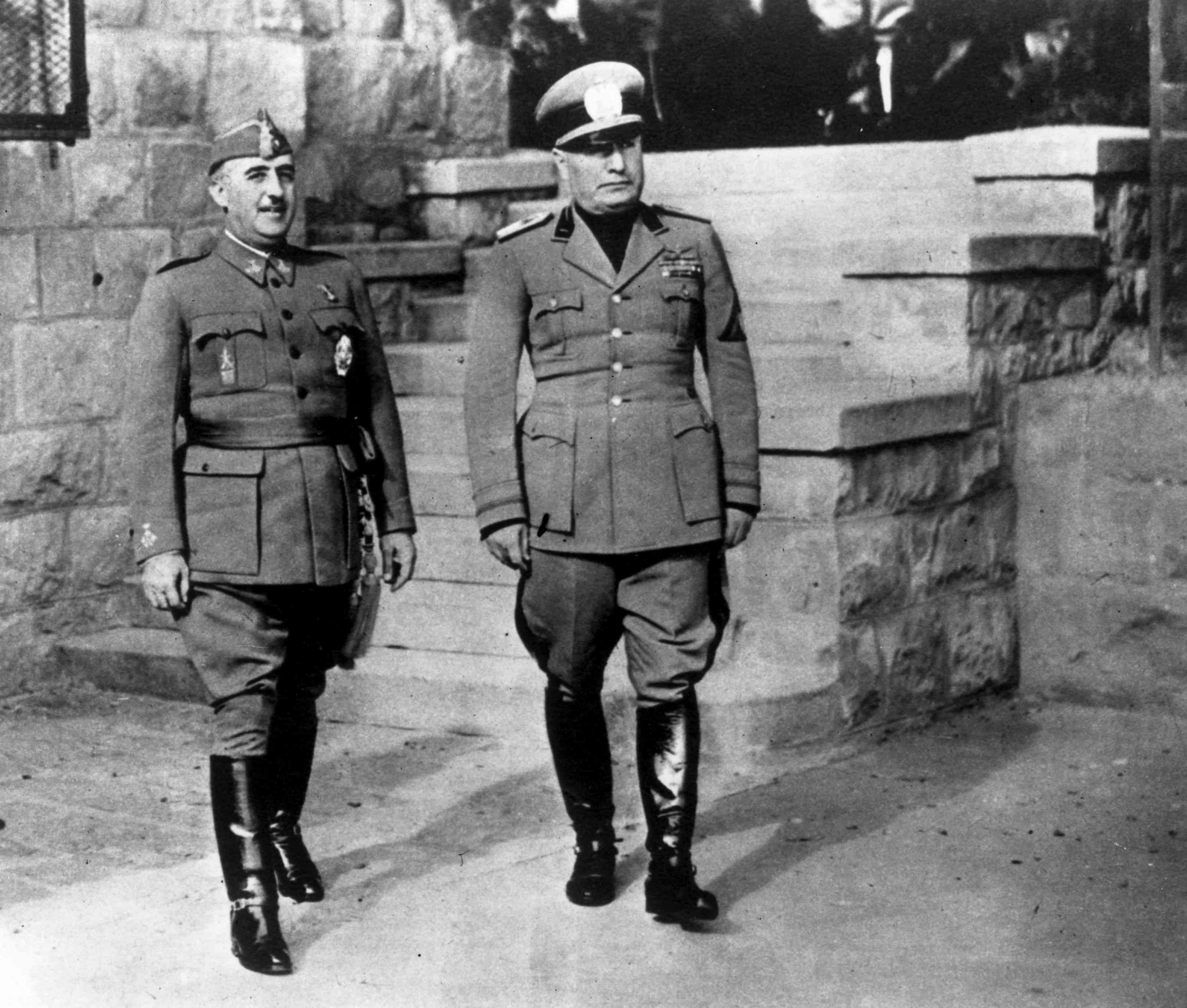 Spanish authoritarian leader Francisco Franco (left) with Italian dictator Benito Mussolini, March 4, 1944