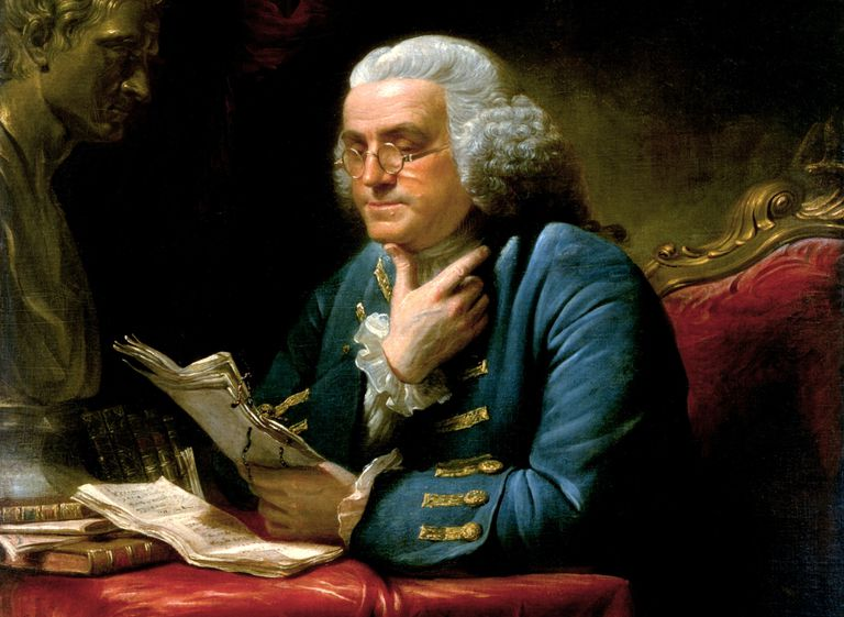 Painting of Benjamin Franklin wearing bifocals reading a document.