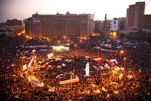 Tahrir square, packed with protestors during the Arab Spring