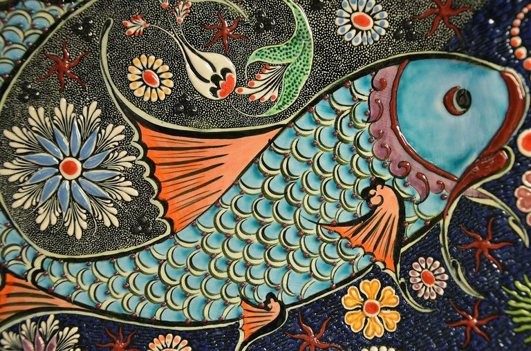 Colorful fish mosaic.
