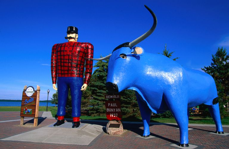 Paul Bunyan and his faithful blue ox, Babe