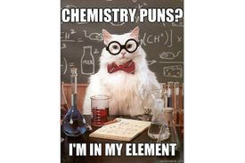 Chemistry Cat is in his element when it comes to chemistry puns.