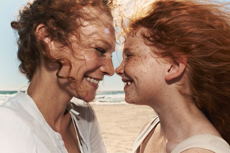 Portrait of mother and daughter with red hair close up