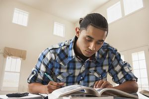 Man studying at desk