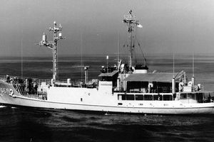 USS Pueblo at sea.