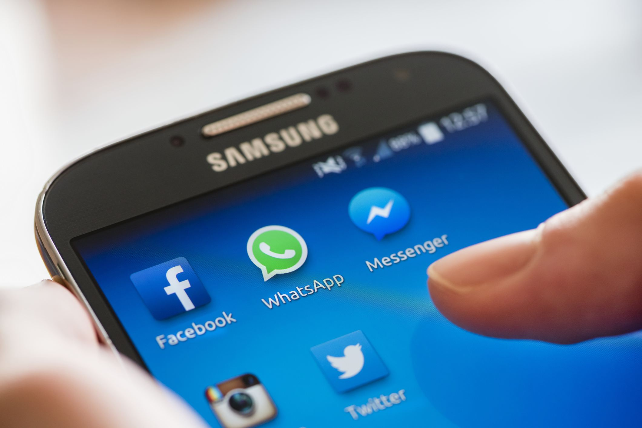 View of a smartphone's social media apps