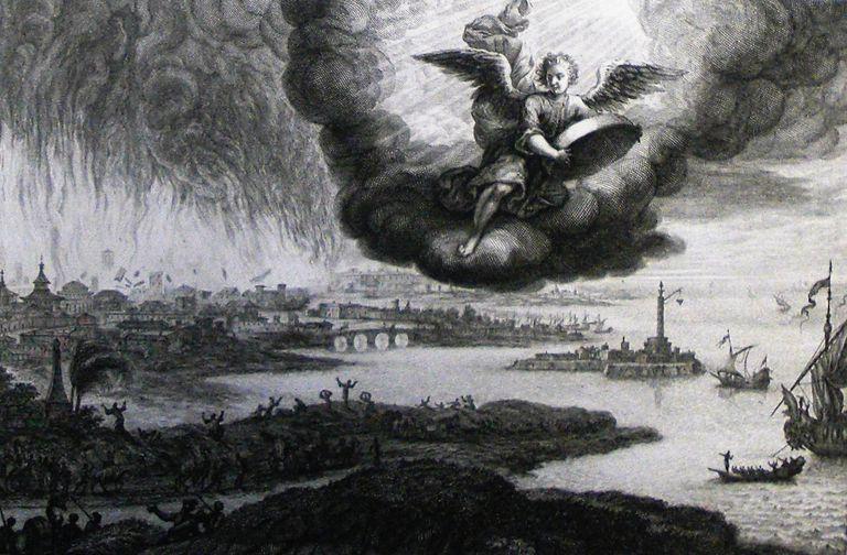 Babylon's destruction from the Book of Revelation artist rendering.