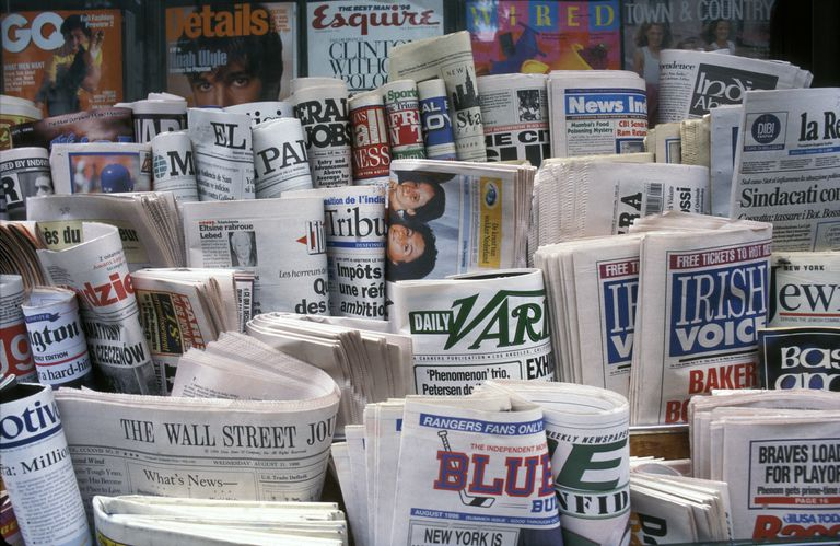 World newspapers at NY news stand