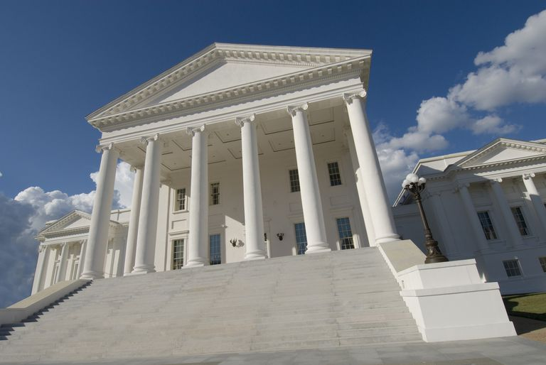 Virginia State Capitol, white with columns