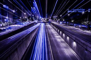 Lights streaking down a highway