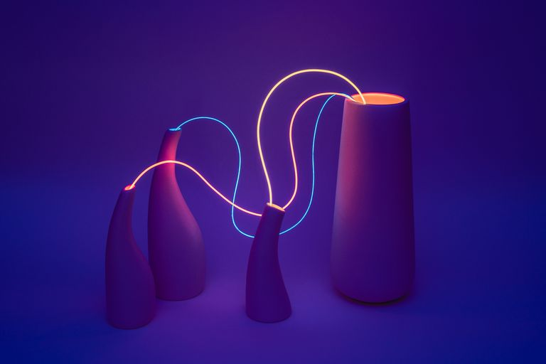 vessels with lit strings connecting them