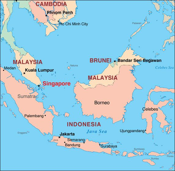 Where is Singapore? Map showing its location on the tip of the Malay Peninsula