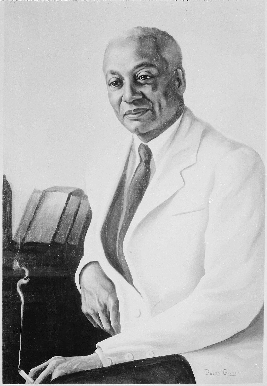 Black and white painting of Alain Locke.