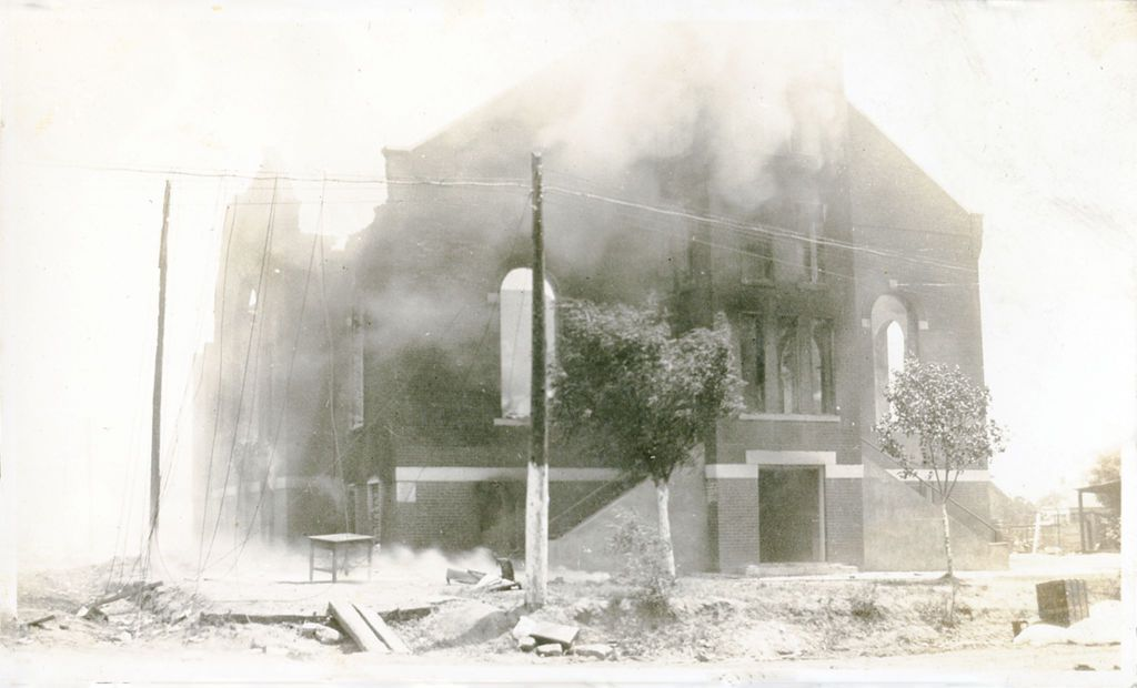 Damaged Greenwood district church following the Tulsa Race Massacre, Tulsa, Oklahoma, June 1921.