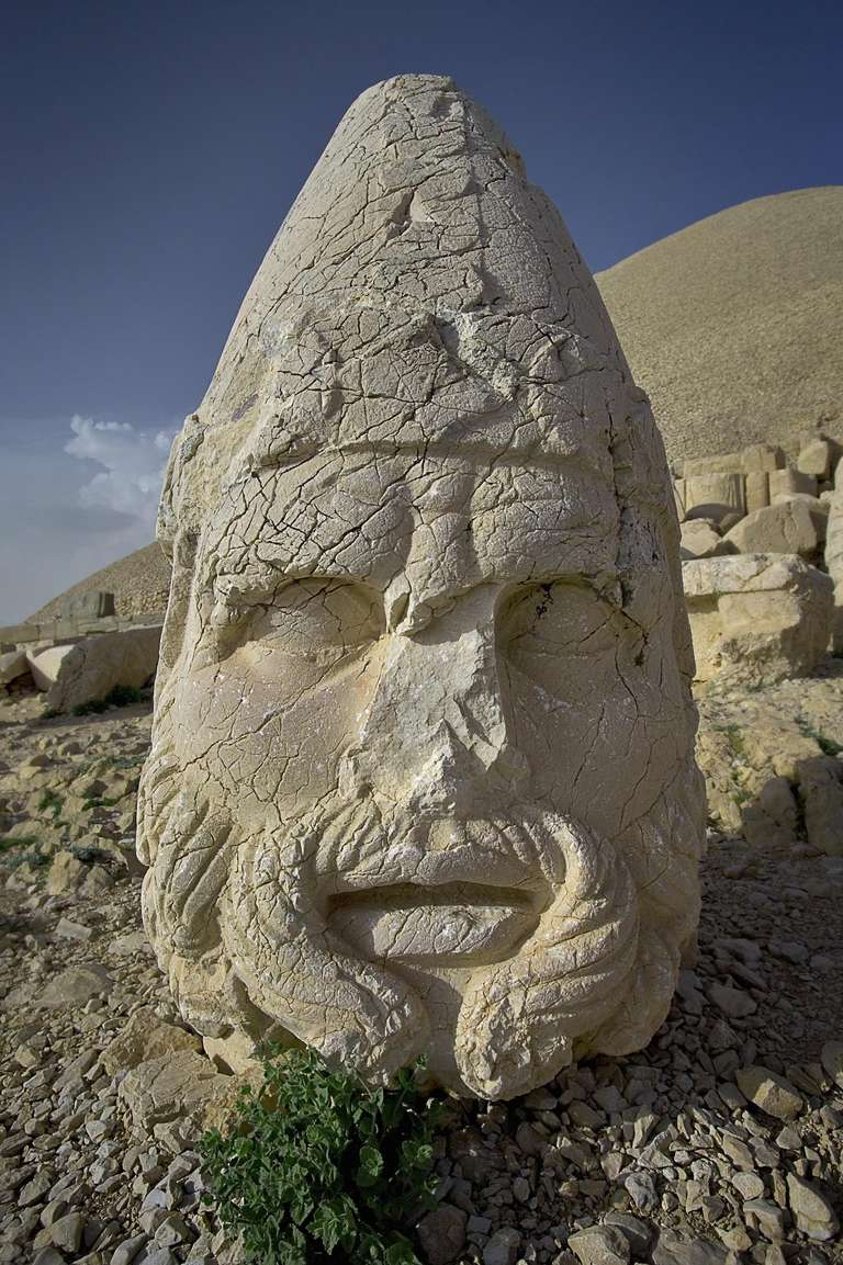 Turkey, Anatolia, Mount Nemrut, head of statue of Zeus