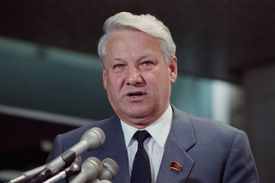 Yeltsin Speaking at Press Conference