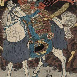 Print by Kuniyoshi Utagawa, c. 1848-1854 of Tomoe Gozen on Horseback