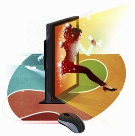 Businesswoman jumping through computer screen holding diploma