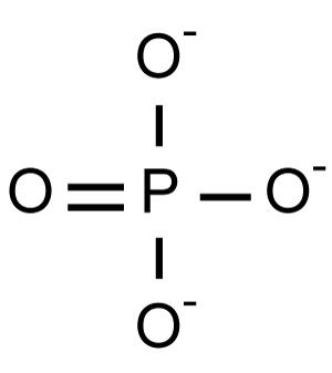 This is the chemical structure of the phosphate anion.